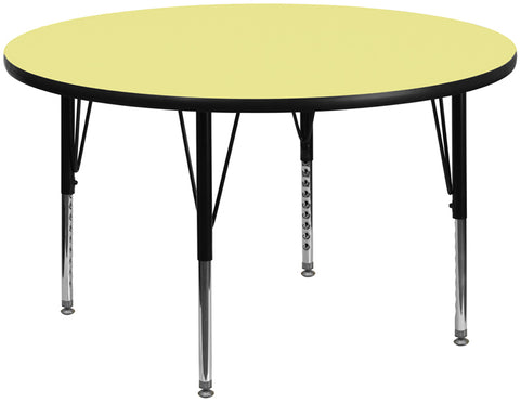 60'' Round Yellow Thermal Laminate Activity Table - Height Adjustable Short Legs