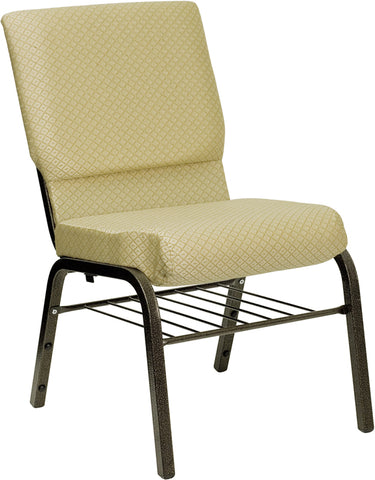 HERCULES Series 18.5''W Church Chair in Beige Patterned Fabric with Book Rack - Gold Vein Frame