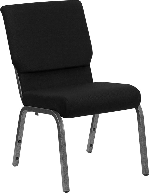 HERCULES Series 18.5''W Stacking Church Chair in Black Fabric - Silver Vein Frame