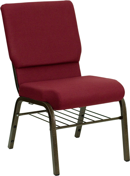 HERCULES Series 18.5''W Church Chair in Burgundy Fabric with Book Rack - Gold Vein Frame