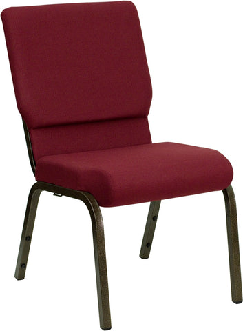 HERCULES Series 18.5''W Stacking Church Chair in Burgundy Fabric - Gold Vein Frame