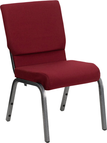 HERCULES Series 18.5''W Stacking Church Chair in Burgundy Fabric - Silver Vein Frame