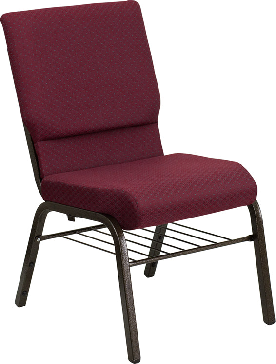 HERCULES Series 18.5''W Church Chair in Burgundy Patterned Fabric with Book Rack - Gold Vein Frame