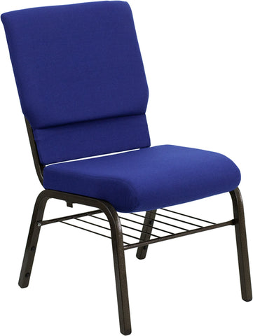 HERCULES Series 18.5''W Church Chair in Navy Blue Fabric with Book Rack - Gold Vein Frame