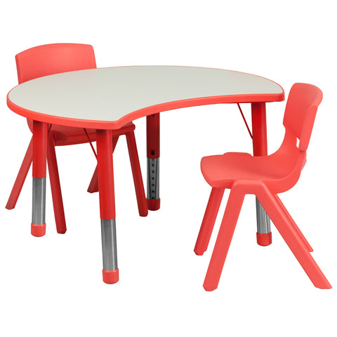 25.125''W x 35.5''L Cutout Circle Red Plastic Height Adjustable Activity Table Set with 2 Chairs