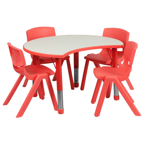 25.125''W x 35.5''L Cutout Circle Red Plastic Height Adjustable Activity Table Set with 4 Chairs