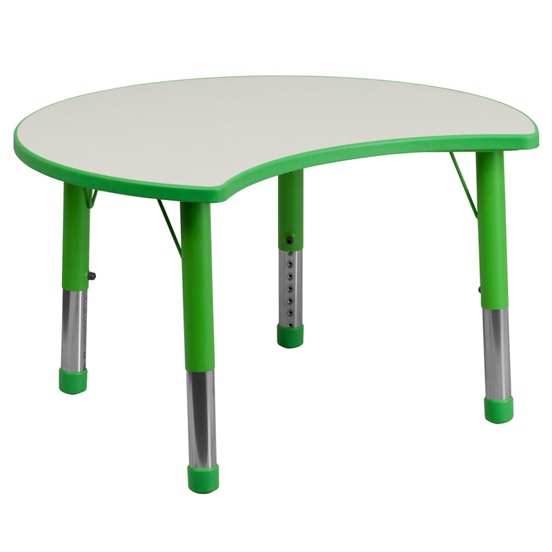 25.125''W x 35.5''L Cutout Circle Green Plastic Height Adjustable Activity Table with Grey Top