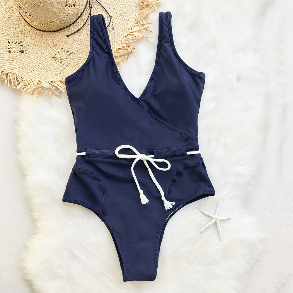 82a105cded Sing In The Clouds Solid V neck One Piece Swimsuit – Cozyszns