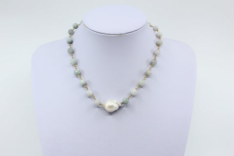Amazonite Bead Chain with Baroque Freshwater Pearl