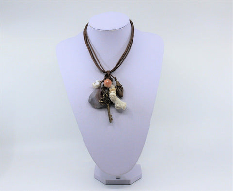 Brown Leather Cluster Charm Necklace