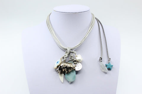 Grey Leather Cluster Charm Necklace