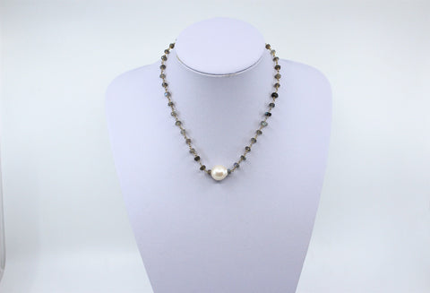 Labradonite Rosary Chain With Baroque Freshwater Pearl
