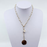 Gold Links With Coin And Pearl Charm