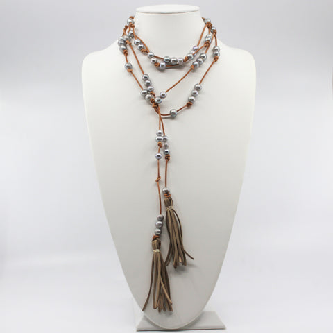 Knotted Leather Lariat With Grey Pearls And Tassels
