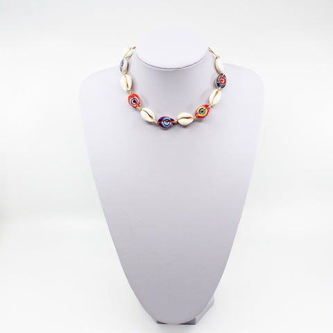 Adjustable Painted Cowry Shell Choker