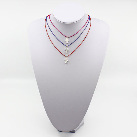 Mother Of Pearl Cross Chain Necklace