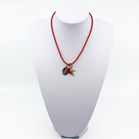 Red Coral Charm Necklace