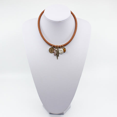 Talisman Leather Charm Necklace