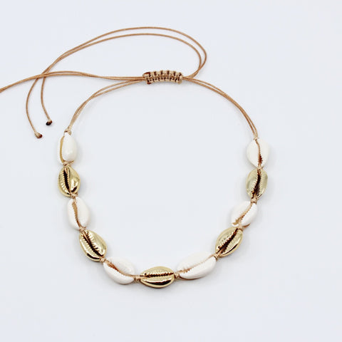 Adjustable White and Gold Cowrey Shell Choker