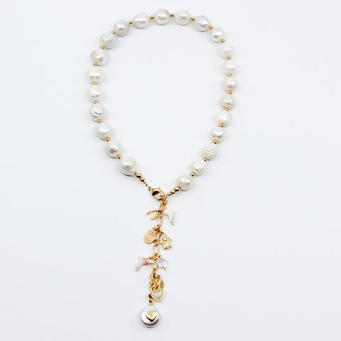 Pearl Necklace With Charm Extender