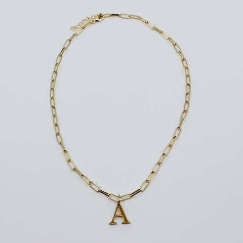 Gold Paper Clip Chain Initial Necklace