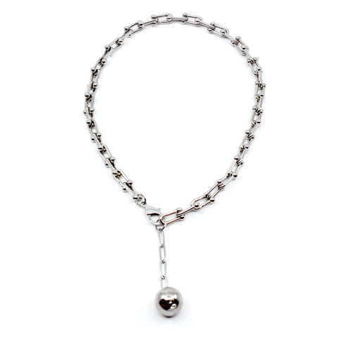 Silver Ball And Chain Necklace