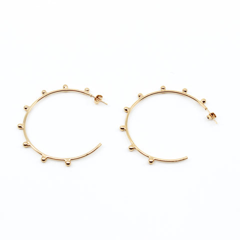 Gold Beaded 2 inch hoops