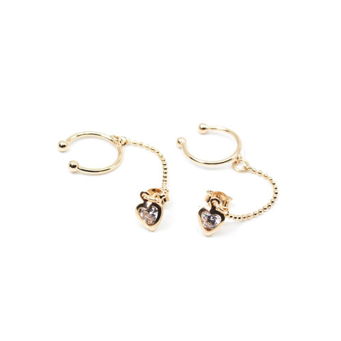 Heart Chain Ear Cuffs