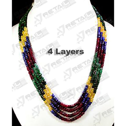 Aj Retail 4 Layer Rainbow Necklace - 1 Mukhi Rudraksha