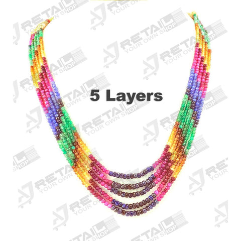 Aj Retail 5 Layer Rainbow Necklace - 1 Mukhi Rudraksha