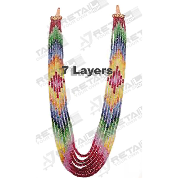 Aj Retail 7 Layer Rainbow Necklace - 1 Mukhi Rudraksha