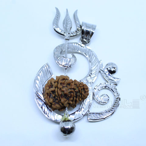 Lord Shiv Trishul and OM Locket Pendant (Silver) with 14 Mukhi Rudraksha for Men and Women - 1 Mukhi Rudraksha