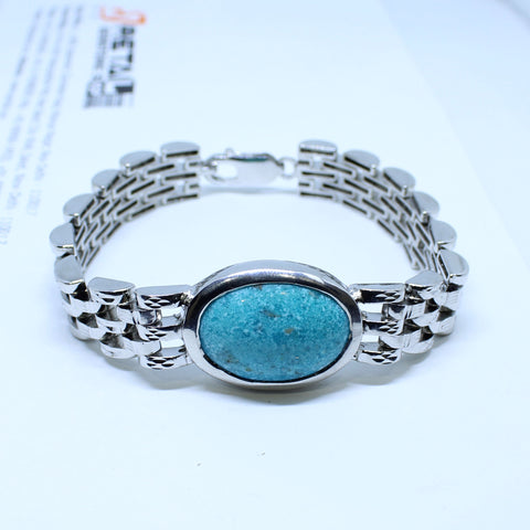 Turquoise Bracelet 22.50 Carat Firoza Stone weight and silver metal chain with IGL certificate - 1 Mukhi Rudraksha