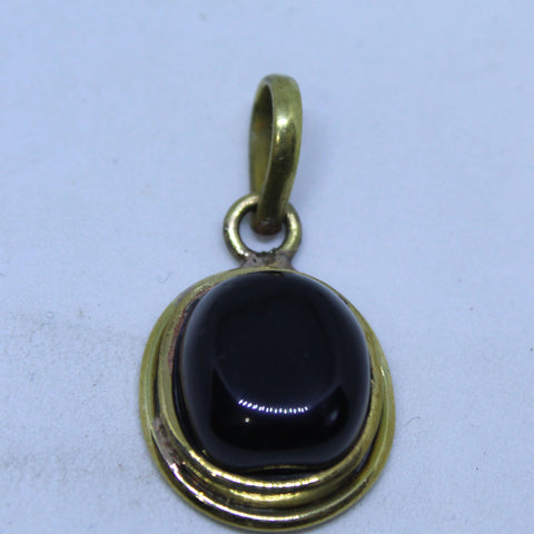 Black Sulemani hakik (Aqeeq)  Pendant  for protection from evil eye in Pancha dhatu - 1 Mukhi Rudraksha