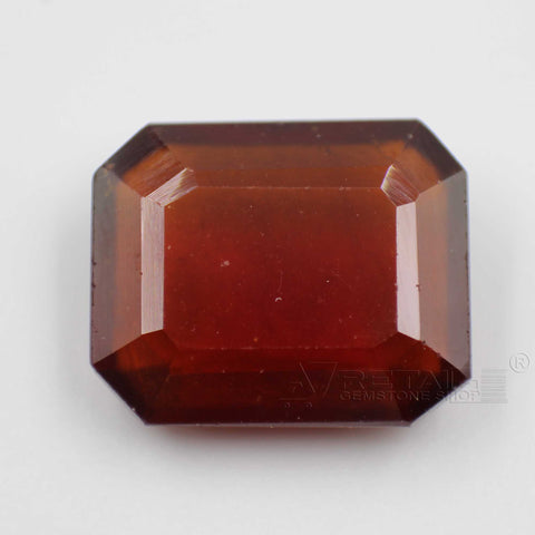 8.04CTs Emerald cut Natural Hessonite Gemstone (Gomedha, Garnet) with lab report by IGL