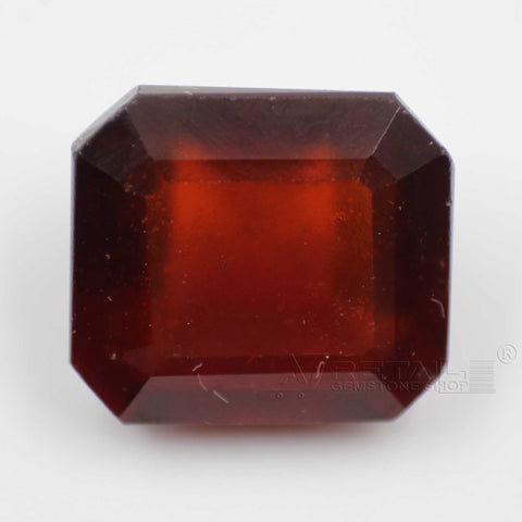 12.62CTs Emerald cut Natural Hessonite Gemstone (Gomedha, Garnet) with lab report by IGL - 1 Mukhi Rudraksha