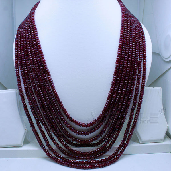 Ruby Beaded Necklace 8 layered AAA+ Quality @ Best Price | Buy Now - 1 Mukhi Rudraksha