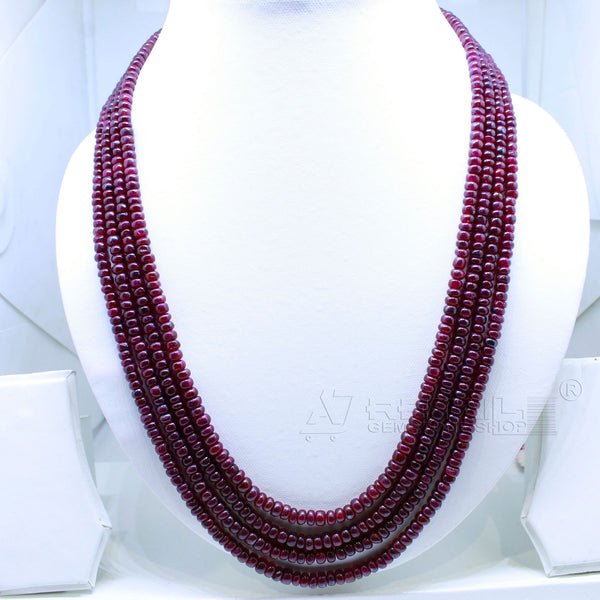 Ruby Beaded Necklace 4 layered AAA+ Quality @ Best Price | Buy Now - 1 Mukhi Rudraksha