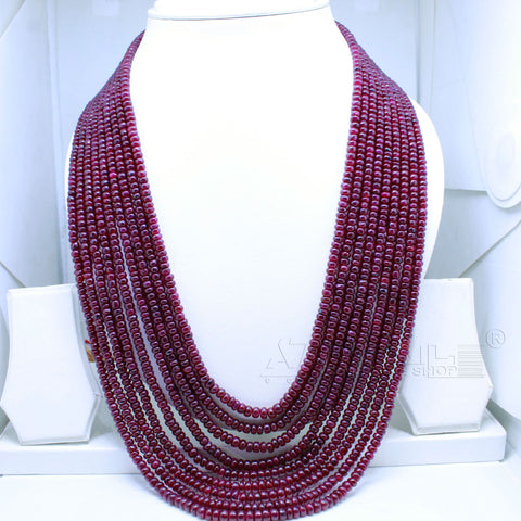 Ruby Beaded Necklace nine layered AAA+ Quality @ Best Price | Buy Now - 1 Mukhi Rudraksha