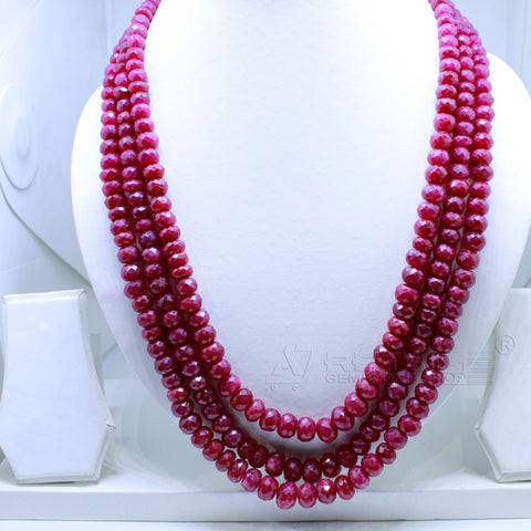 Three layered Ruby Beaded Necklace  AAA+ Quality @ Best Price | Buy Now - 1 Mukhi Rudraksha