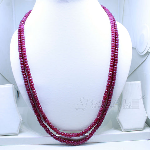 2 layered Ruby Beaded Necklace  AAA+ Quality @ Best Price | Buy Now - 1 Mukhi Rudraksha