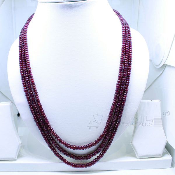 3 layered Ruby Beaded Necklace  AAA+ Quality @ Best Price | Buy Now - 1 Mukhi Rudraksha