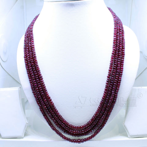 4 layered Ruby Beaded Necklace  AAA+ Quality @ Best Price | Buy Now - 1 Mukhi Rudraksha