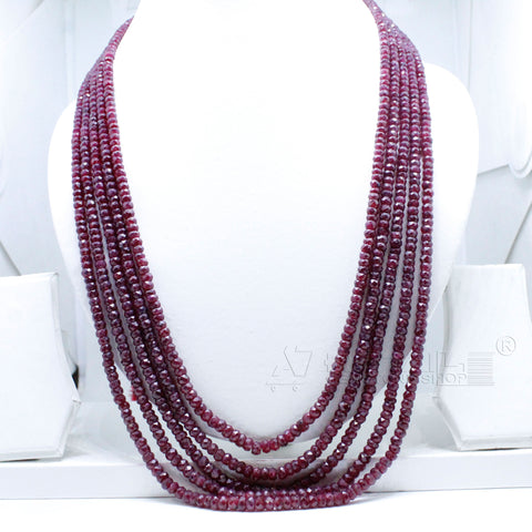 5 layered Ruby Beaded Necklace  AAA+ Quality @ Best Price | Buy Now - 1 Mukhi Rudraksha