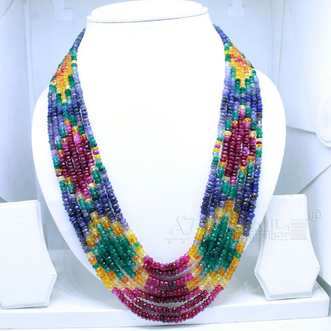 Luxury Rainbow Necklace seven layers very Precious AAA+ Quality for Jewelry @ just Rs.14000/- only - 1 Mukhi Rudraksha
