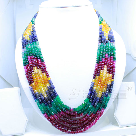 Luxury Rainbow Necklace seven layers very Precious AAA+ Quality for Jewelry @ just Rs.13990/- only - 1 Mukhi Rudraksha