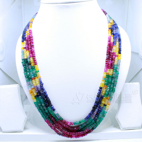 Luxury Rainbow Necklace five layers very Precious AAA+ Quality for Jewelry @ just Rs.10000/- only - 1 Mukhi Rudraksha