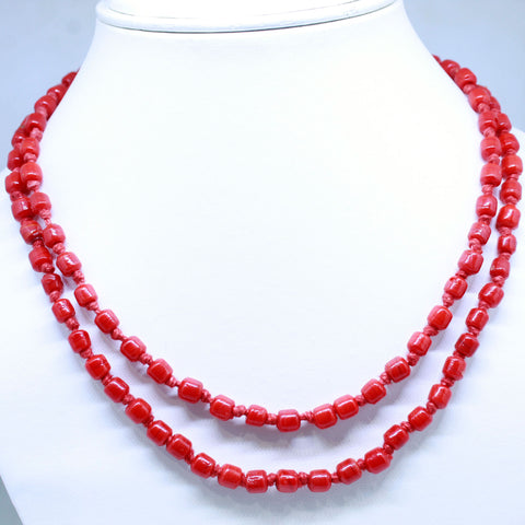 Single Layer Red Coral Necklace - 1 Mukhi Rudraksha