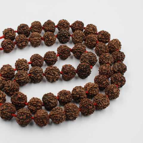 Natural 5 Mukhi Rudraksha Mala (Jaap Mala) 18mm to 25mm (55 pieces) protect from evil eye - 1 Mukhi Rudraksha