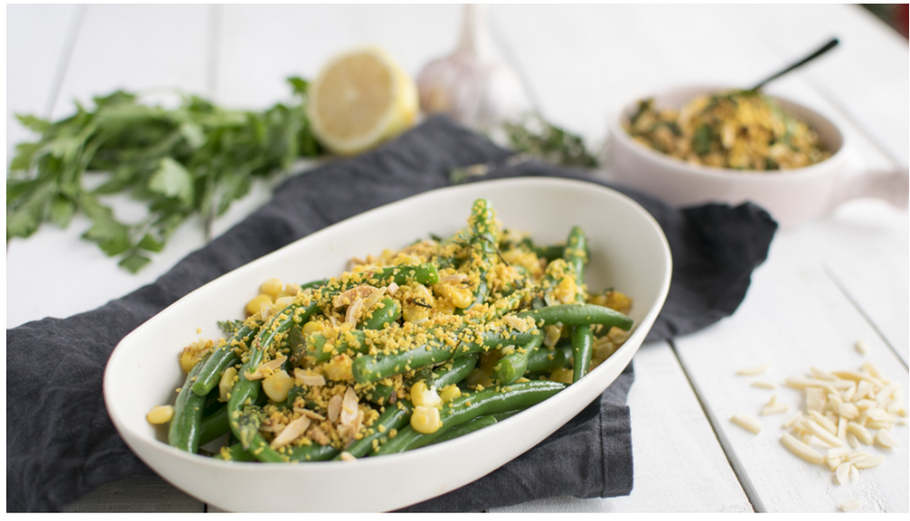 Green Beans with Crispy Lupin Crumb